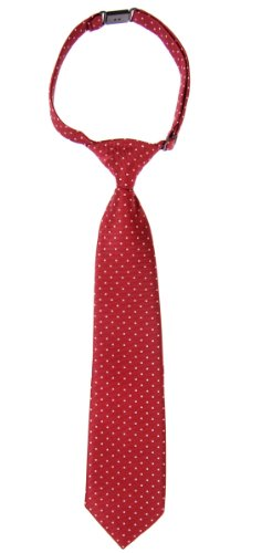 Retreez Pin Dots Woven Microfiber Pre-tied Boy's Tie - Red Wine with Pink Pin Dots - 4 - 7 (Wine Pin Dot)
