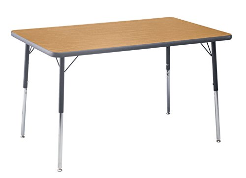 Classroom Select T-Mold Activity Table, Rectangle, Adjustable Height, 30 x 60 Inches, Top Color: Bannister Oak/Edge Color: Black
