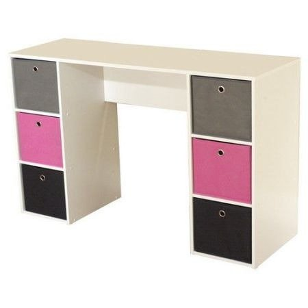 Writing Study Desk and Computer Table With Fabric Storage Bins,Multiple Colors by By Home Design