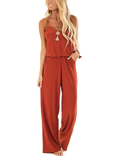 - Dressmine Womens V Neck Wide Leg Jumpsuit Casual Sleeveless Dressy Elegant Jumpsuit Rompers Orange Small