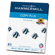"Hammermill Copy Plus Paper, 92 GE/102 ISO, 8.5"" W x 11"" L, 20 lb, White, Sold as 1 Ream, 500 Each per Ream"