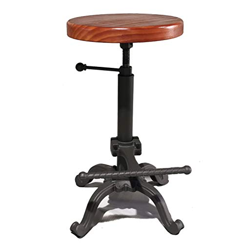 Topower Industrial Retro Vintage Farm Wooden Tractor Stool Kitchen Swivel Height Adjustable bar Stool (Dark Brown) (Stools Wooden Antique)