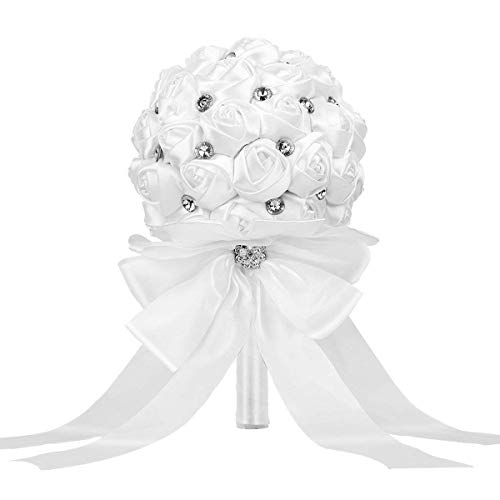 (TRUE LOVE GIFT Wedding Bride Bouquet, Handmade Crystal Satin Rose Bridal Bridesmaid Toss Bouquet Artificial Wedding Flower Rhinestones Wedding, Engagement Decor (Large White))