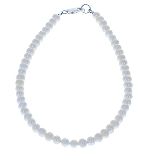 - Timeless-Treasures Womens Genuine Fresh Water Cultured Pearls & Sterling Silver Beaded Anklet - 12