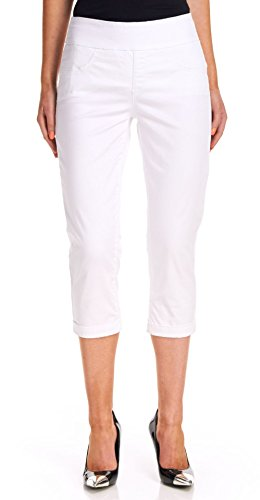 Miraclebody Women's Randi Cuffed Pull On Pants, White, 10 (Woman Cropped Cuffed Pant)