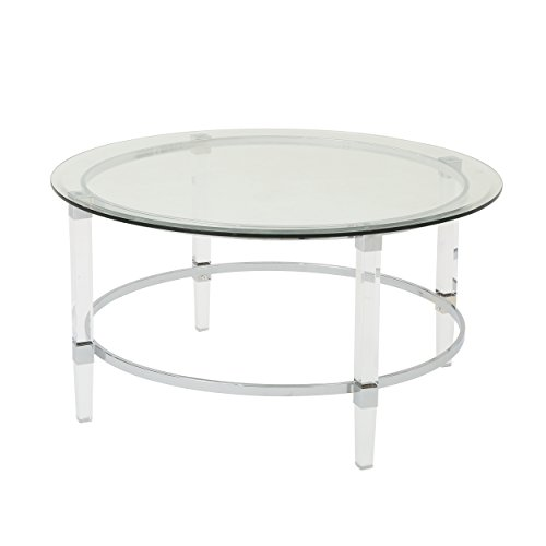 (Great Deal Furniture 302313 Lynn Modern Round Tempered Glass Coffee Table with Acrylic and Iron Accents, Clear )