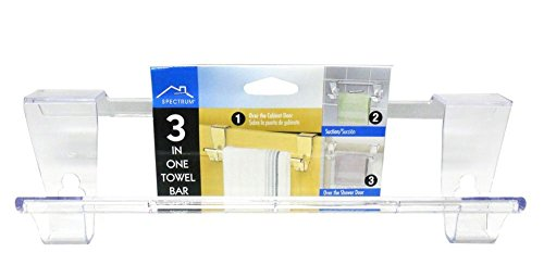 Nickel Towel Purist (3 in One Over the Cabinet Door Towel Bar w/ Removable Suction Cups)