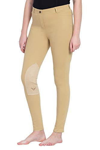 - TuffRider Ladies Cotton Pull-On Knee Patch Plus Breeches, Light Tan, 38