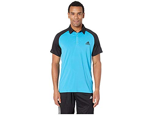 - adidas Men's Club Colorblock Polo Shock Cyan/Black Medium
