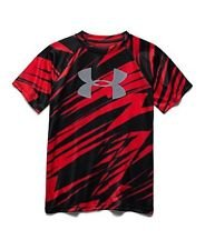 Under Armour Boys Big Logo Hybrid 2.0 Short Sleeve Printed T, Red/Overcast Grey, - Outlets Palomar