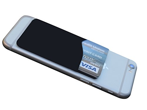 AgentWhiteUSA hui-87 Stick On Wallet, Adhesive /ID/Credit Card, Pouch Card, Holder For Android, Smart Phone, IPhone, 3m Pouch - Black