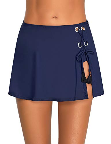 Utyful Women's Navy Blue Skirted Bikini Bottom Solid Swim Skirt Self Tie Swimsuit Bottom XX-Large