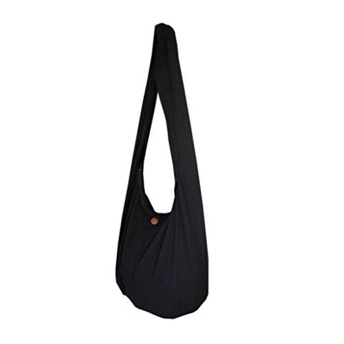 Panasiam - Bolso bandolera con doble tejido y con bolsillo interior, algodón resistente, varios colores y diseños, unisex, Schultersack, Uni, M, negro, 52