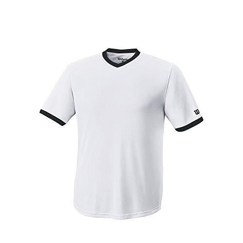 Wilson Mens S303 Performance V-Neck Tech Tee - Adult, White/Black, Small