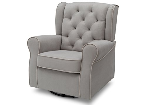 Delta Children Emerson Upholstered Glider Swivel Rocker Chair, Dove Grey with Soft Grey Welt (Upholstered Rocker Childs)