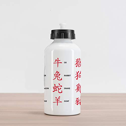 Lunarable Astrology Aluminum Water Bottle, Chinese Astrology for Horoscope Person Elements Future Illustration, Aluminum Insulated Spill-Proof Travel Sports Water Bottle, Red White