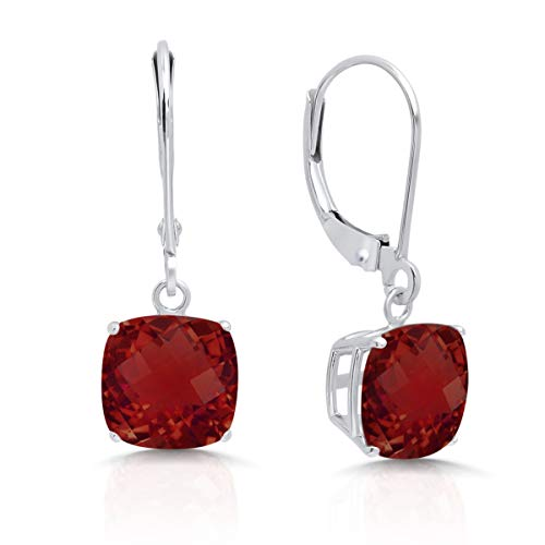 14k White Gold Garnet Dangle Leverback Earrings (8mm)