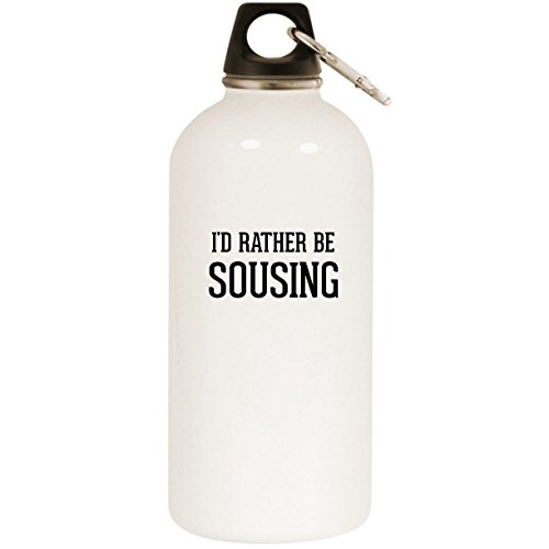 I'd Rather Be SOUSING - White 20oz Stainless Steel Water Bottle with Carabiner by Molandra Products