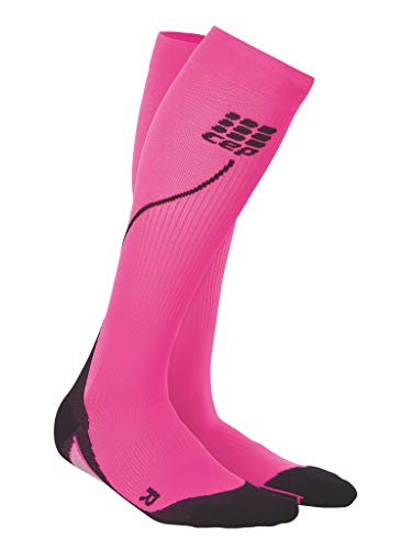 Womens Running Compression Socks - CEP Long 2.0 (Pink/Black) III