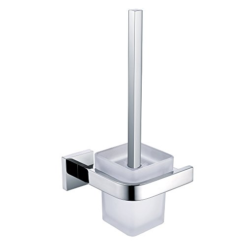 Leyden TM Bathroom Wall Mounted Toilet Brush Holder Set Handle with Holder Wall Mount, Stainless Steel Chrome ()