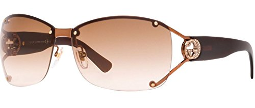 GUCCI GG2820FS Translucent Brown Bronze Square Wrap Crystal Sunglasses - Sunglasses Gucci With Crystals Aviator