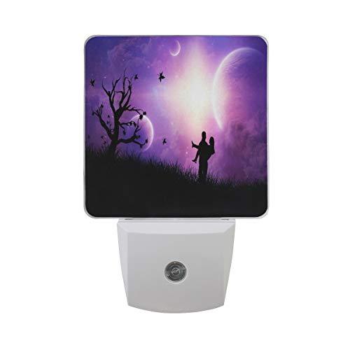 OuLian Night Light Purple Romantic Love Wallpaper Led Light Lamp for Hallway, Kitchen, Bathroom, Bedroom, Stairs, DaylightWhite, Bedroom, Compact