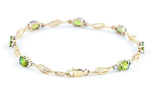 QP joailliers naturel & Diamant Peridot Bracelet en or 9carats, 3,38CT Coupe ovale-1699y