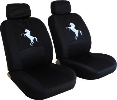 (UNIQUE AUTOMOTIVE ACCESSORIES Front Low Back Black Seat Covers Set - Mustang Horse Pony Custom Embroidered)