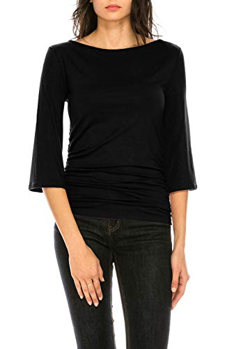 CLEMONCE Women's 3/4 Sleeve Boat Neck Ruched Shirred Side Flare Sleeve Top Black 3XL