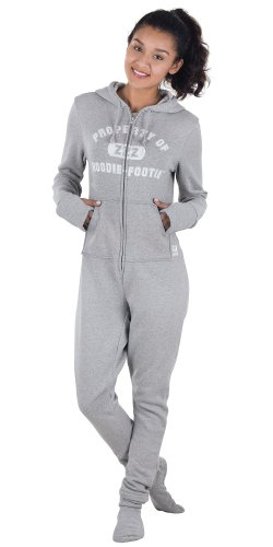 PajamaGram Women 's Hoodie-Footie Gray Varsity Onesie Pajamas Grey Large / 12-14