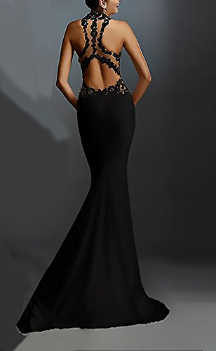 Elegantes Vestidos Novia Vestidos Vestido Señoras Espalda Noche Huixin Sin Mangas Coctel De Splicing Fiesta De Encaje Negro Descubierta De Largos Sirena De Slim Vestidos Moderno Mujer Dresses Vintage Boda 6a50wqxA