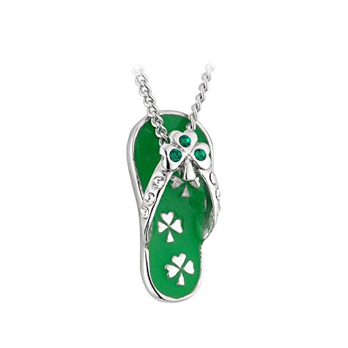 Biddy Murphy St.Patrick's Day Shamrock Necklace Flip Flop Rhodium Plated & Crystal Made in Ireland