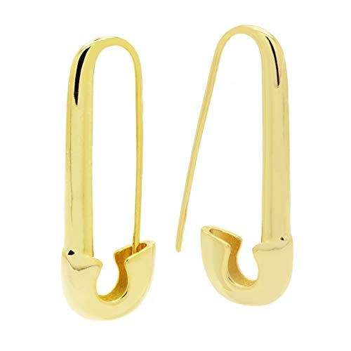 (Safety Pin Earrings Polished Gold Plated Women Fashion, 1.5 in)