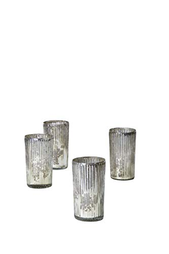 Large Ribbed Antique Silver Votive, Set of 4 ()