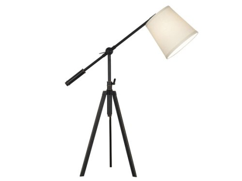 Kenroy Home Axel 29 Inch Minimum To 34 Inch Maximum Table Lamp In Oil Rubbed Bronze Finish With A Cream Tapered Drum Shade For Sale