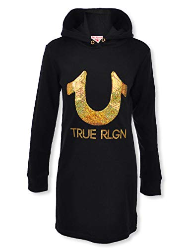 True Religion Big Girls French Terry Tunic Hoodie - Black, - Religion Hoody True Women
