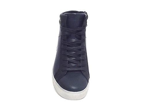 Crime uomo, Lucky Hi, sneakers pelle blu A7102