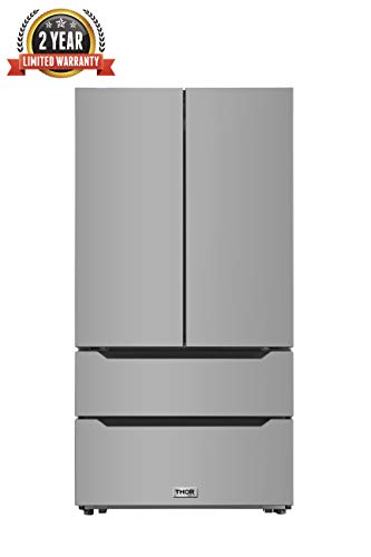 Thor Kitchen 36 Inch Wide 22.5 cu.ft Stainless Steel Refrigerator with Automatic Ice-maker, Counter Depth French Door - Certification UL - 2 Years of Warranty (Silver)