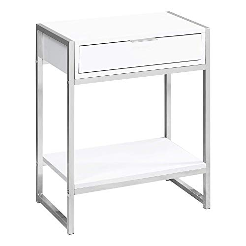 Monarch Specialties I 3480 Accent, END Table, Night Stand, White