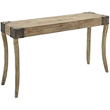 Deco 79 Console Table With Metal Bolts On Corners With Curved Legs, Brown