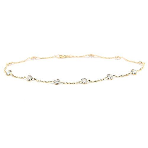 14k Yellow Gold Station Bracelet with 4mm Round Cubic Zirconia (7, 7.5 and 8 Inches) by amazinite
