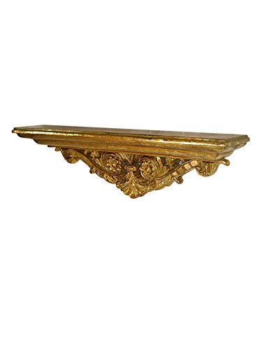 Classic Antique Gold Leaf - Heather Ann Creations Flora Collection Traditional Accent Shelf With Classic Leaf Design, Gold