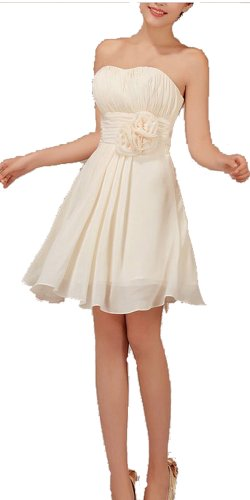 Graceful Beige Short Pleated Empire Waist Bridesmaid Dresses with Floral Belt by Kissprom