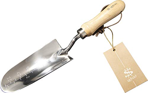 Arius Garden Tools Stainless Transplant Trowel 703 - Heavy Duty Polished Stainless Steel Premium Ergonomic Transplanter for Digging and Planting, Smooth Natural Ash Wood Handle and Leather Strap. (Garden Engraved Trowel)