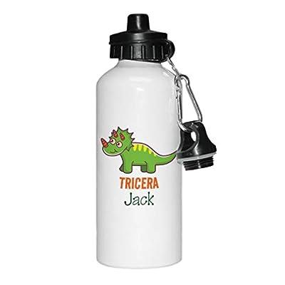 Personalized Custom Text Tricera Jack Aluminun White Water Bottle