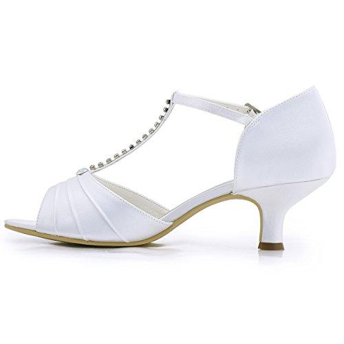 ElegantPark EL-035 Mujer Sandalias Punta Abierta Tacón Bajo Rhinestones Satin Zapatos de Vestir Baile Noche Blanco