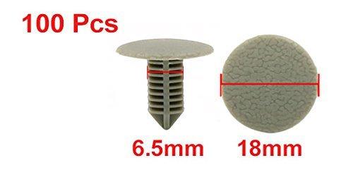 Amazon.com: eDealMax 100 piezas DE 6,5 mm Agujero gris remaches de plástico parachoques Puerta Sujetador Empuje Clips: Automotive
