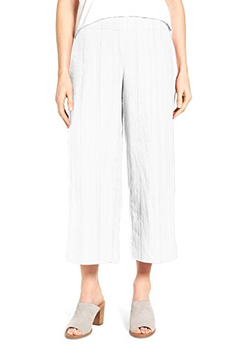WuhouPro Women's Elastic Waist Wide Leg Pleated Crop Pants AZ 1400 White (Straight Leg Crop Yoga Pant)