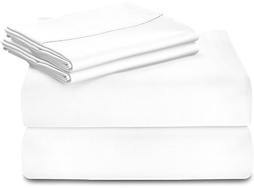 Utopia Bedding Premium 100% Cotton bed Sheet Set (Queen, White) - 4 Piece Bedding Set, Flat Sheet, Fitted Sheet and 2 Pillow - Cotton Set 100%