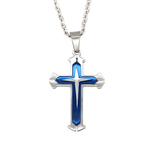 Diamond Titanium Necklace (Juvel Jewelry Smart Cross Pendant 22 Inchs Necklace Titanium Stainless Steel Blue color for Teens)